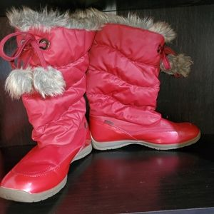 Totes Red Waterproof Winter Faux Fur Lined Boots 8